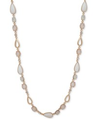 Anne Klein Multi Stone And Crystal 42 Statement Necklace Gold