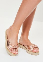 Missguided Rose Gold Knot Front Sliders Pink