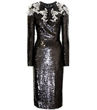 Dolce And Gabbana Crystal Embellished Sequin Dress Black