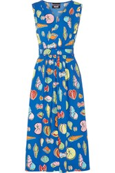 Boutique Moschino Wrap Effect Printed Cotton Blend Poplin Midi Dress Bright Blue