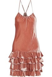 Marissa Webb Everleigh Tiered Velvet Halterneck Mini Dress Antique Rose