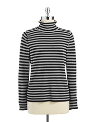 Joseph A Striped Turtleneck Silver