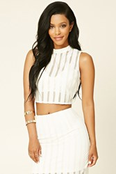 Forever 21 Striped Semi Sheer Crop Top