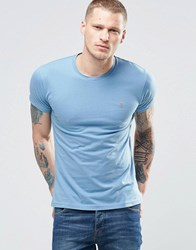 Farah T Shirt With F Logo In Slim Fit In Seal Blue Seal