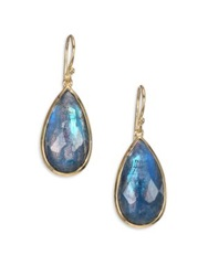 Ippolita Rock Candy London Blue Topaz Labradorite And 18K Yellow Gold Doublet Pear Drop Earrings Gold Blue Topaz