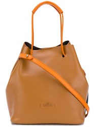 Hogan Drawstring Tote Leather Yellow Orange