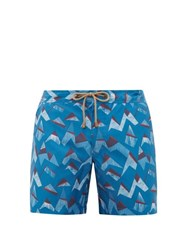 Thorsun Titan Mountain Peak Print Swim Shorts Blue Multi