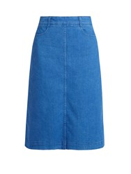 Stella Mccartney High Rise Denim Midi Skirt Blue