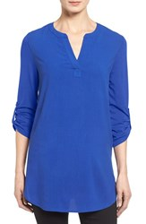 Pleione Women's Split Neck Roll Sleeve Tunic Blue Mazarine