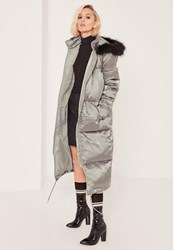 Missguided Petite Green Satin Longline Puffa Coat