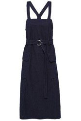 Pringle Of Scotland Woman Belted Cotton And Linen Blend Canvas Midi Dress Indigo