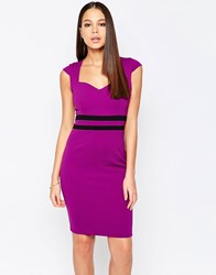 Vesper Evie Pencil Dress With Contrast Waistband Purple
