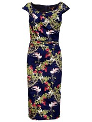 Jolie Moi Floral Ruched Wiggle Dress Navy