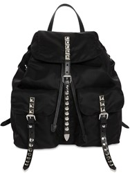 Prada Nylon Backpack W Studded Straps Black