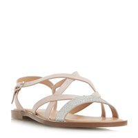 Head Over Heels Liima Strappy Glitter Flat Sandals Nude