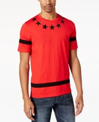 Sean John Men's Pieced Stripe Star Print T Shirt Bright Red