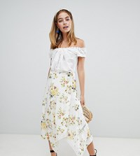 Asos Design Petite Wrap Midi Skirt In Floral Print With Lace Inserts Floral Print Multi