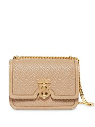 Burberry Small Quilted Monogram Lambskin Tb Bag Neutrals