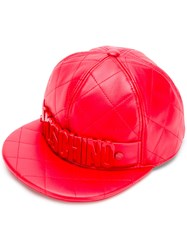 Moschino Quilted Snap Back Cap Red