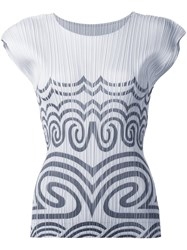 Issey Miyake Pleats Please By Tribal Print Pleated Top White