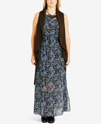 City Chic Trendy Plus Size High Low Duster Vest Thyme