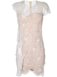 Nedret Taciroglu Couture Embellished Scallop Hem Dress White