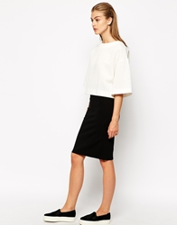 Mango Ponte Pencil Skirt Black