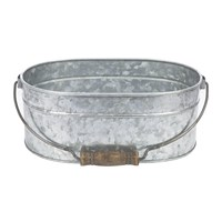 Amara Oval Galvanised Planter With Handle
