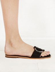 Pixie Market Black Suede Ring Slide Sandals