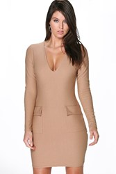 Boohoo Plunge Neck Pocket Detail Bodycon Dress Sand