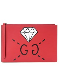 Guccighost Printed Leather Clutch Red