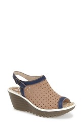Women's Fly London 'Yile' Perforated Slingback Wedge Blue Beige White Leather