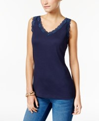 Karen Scott Petite Scalloped Lace Cotton Tank Only At Macy's Intrepid Blue