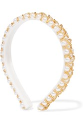 Yunotme Lyra Beaded Faux Pearl Headband White