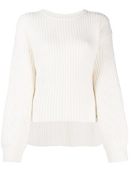 Genny Oversized Ribbed Knit Sweater White