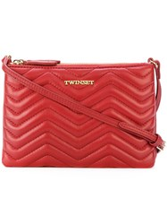 Twin Set Embossed Zigzag Zips Clutch Women Leather One Size Red