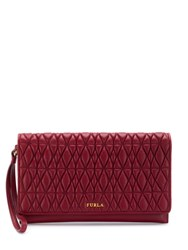 Furla Quilted Logo Clutch Red