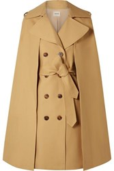 Khaite Donna Cape Effect Cotton Twill Trench Coat Beige
