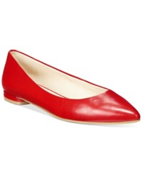 Nine West Onlee Pointed Toe Flats Women's Shoes Red Leather