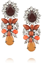 Shourouk Blondie Gunmetal Tone Crystal Earrings Orange