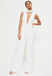 Missguided White Hoop Plunge Wide Leg Jumpsuit