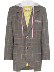 Natasha Zinko Hooded Checked Blazer Grey