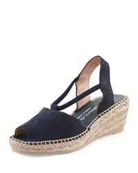 Andre Assous Dainty Suede Wedge Sandal Navy