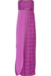 Missoni Strapless Draped Crochet Knit Maxi Dress Purple