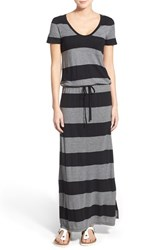 Women's Caslon Drawstring V Neck Jersey Maxi Dress Black Heather Grey Stripe