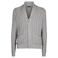 Aquascutum London Oakham Cable Knit Cardigan Grey