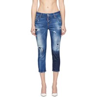 Dsquared2 Blue Acid Green Spots Cool Girl Cropped Jeans