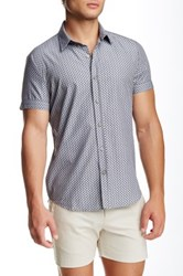 Parke And Ronen Biscayne Printed Short Sleeve Slim Fit Shirt Gray