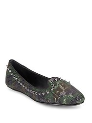 Ash Asif Spiked And Sequined Camo Flats Military