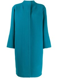 Gianluca Capannolo Concealed Front Coat Blue